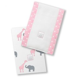 Swaddle Designs Baby Burpies Safari Fun Set of 2 (Pink)
