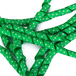 Ten Green Ribbons With White Dot And Heart