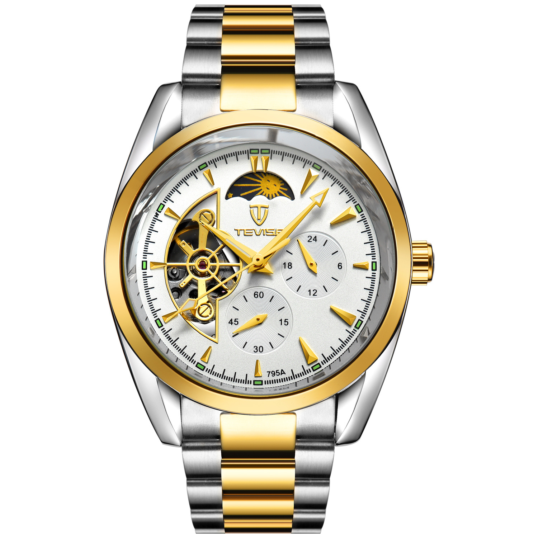 Tevise 795A-JB-G Tourbillon Top Brand Luxury Digital Casual Watch Men Business Wristwatch Automatic Mechanical Fashion Wrist Watches