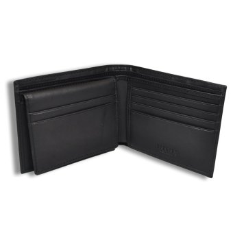 Tieline Billfold with Card Case Leather Wallet (Black)