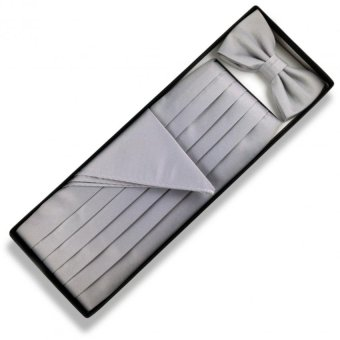 Tieline Bow Tie Cummerbund Pocket Square Set (Silver)