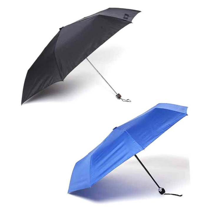 Tokio Slim Type Windproof Umbrella and Tokio Auto Open-Close Umbrella Set of 2 (Black/Navy Blue)