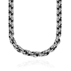 Treasure by B&D GMYN064 Punk Stainless Steel Rope Links Braided Chains Necklaces Jewelry (Silver)