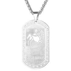 U7 Sagittarius Constellation Pendant Necklace Stainless Steel Unisex  Jewelry Zodiac Crystal Lucky Necklace Gift (White) - INTL