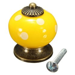 UJS Vintage Colorful Ceramic Door Knobs Cabinet Drawer Cupboard Bedroom Pull Handle Yellow (Intl)