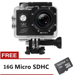 Ultra HD 4K 16MP Action Camera with Free 16GB Memory Card (Black)