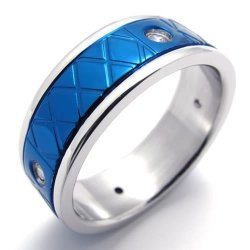 Unisex Womens Mens Ring Polished Stainless Steel Band Blue Silver- INTL