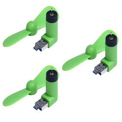USB Mini Fan For Android Smart Phone For Meizu Huawei LG Samsung Xiaomi (Apple green)  Set of 3