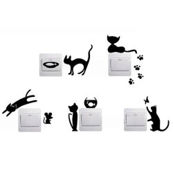 Velishy  Light Switch Stickers 5 Cute Lovely Cat Series  Wall Decor