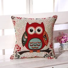 Vintage Cute Owl Cotton Linen Pillow Case Sofa Throw Cushion Cover Home Decor 1# -