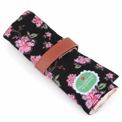 Vintage Floral Roll Up Makeup Cosmetic Brushes Pen Pencil Bag Case Holder Pouch (Intl)
