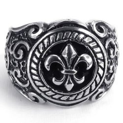 Vintage Stainless Steel Men's Ring Color Black Silver- INTL