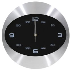 Wallmark Modern Design Oval Time Wall Clock (Black)
