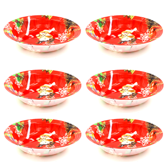Wallmark Snowman Collectible Christmas Bowl Set of 6 (Red)