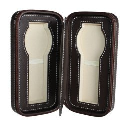 Watch Pouch SW1096 DBR Leather 2-slots (Brown)