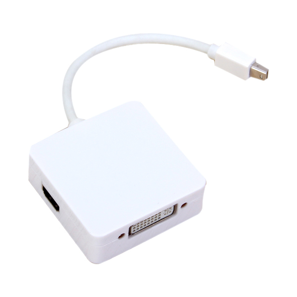 White Mini DisplayPort to HDMI DVI DisplayPort 3-in-1 Adapter - thumbnail