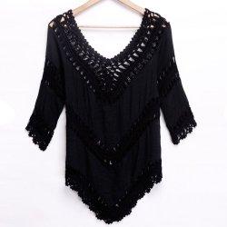 Women New Fashion V-neck Bohemia Style Women Blouse Tops-black-