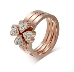 Women's Fashion Flowers Cubic Zirconia  Detachable Ring GJ420 (Intl)