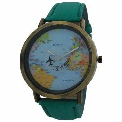 World Traveller Men's Casual Watch With Airplane Seconds Hand