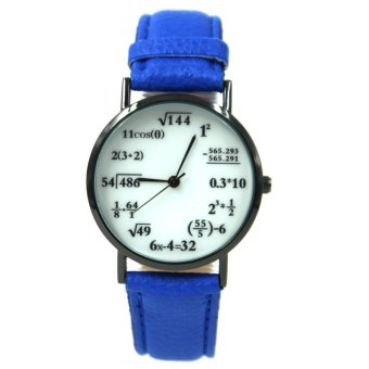 WOW Equation Unisex Blue Leather Strap Watch