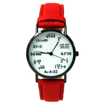 WOW Equation Unisex Red Leather Strap Watch