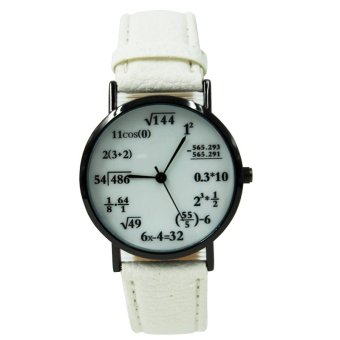 WOW Equation Unisex White Leather Strap Watch