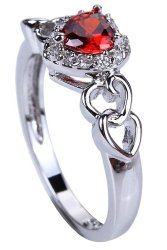Yazilind Amethyst Heart Rings Silver Plated Clear and Red Crystal Wedding for Women