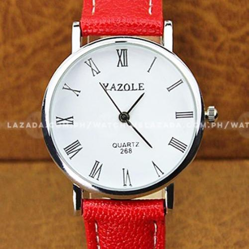 Yazole Men's Classic Blue Ray Glass European Leather Strap Watch