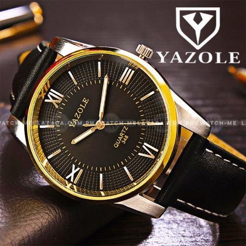 Yazole Men's Deluxe Golden Roman Numeral Black Leather Strap Watch (Black Face)