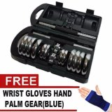 York Chrome Dumbell Set 20kg Gym Fitness Dumbbell With Free Wrist Gloves Hand Palm 1 Pair image on snachetto.com