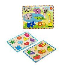 Young Mindz Ym98152-Ym98153-Ym98121 Fruits, Geometric Shapes And Safari Puzzle By Keywest Internationale Sales