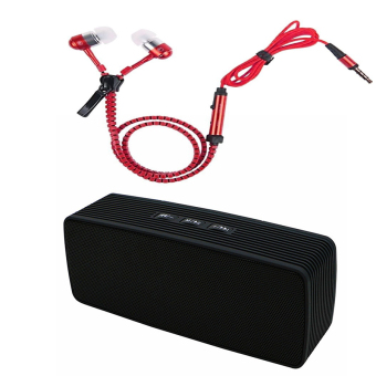 Zipper-type 3.5mm Earphone with Mic (Red) and B-1 Mini Portable Bluetooth Speaker (Black)