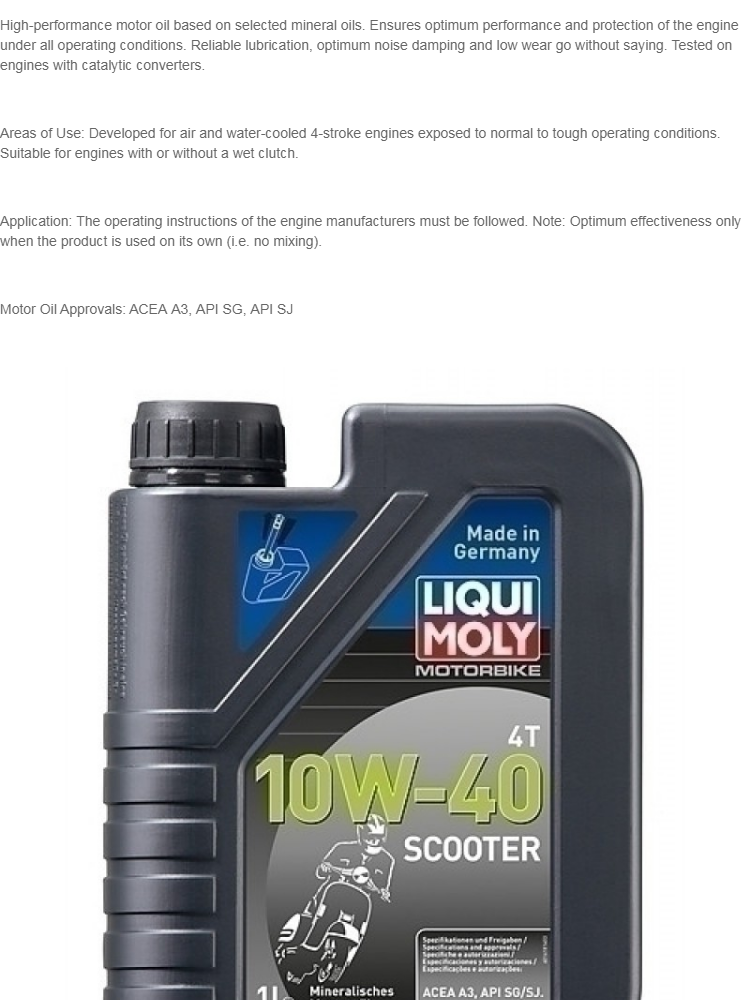 Liqui Moly 4-Stroke Motorbike 10W40 Scooter Mineral Based Engine Oil (1  Liter)