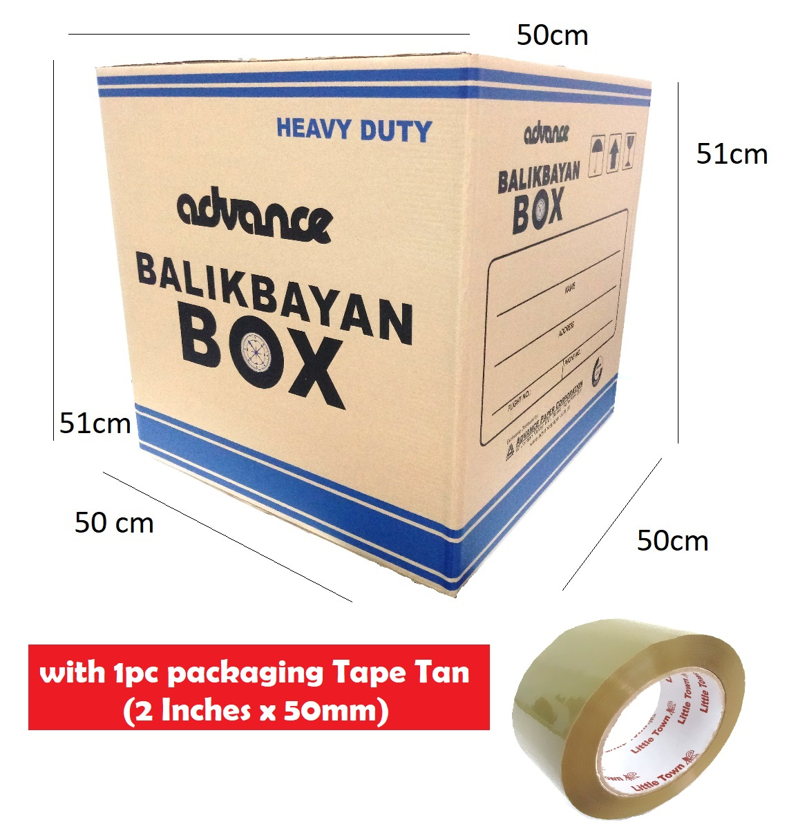 10 Pieces Heavy Duty Balikbayan Box Storage Box with 1pc packaging tape tan  2