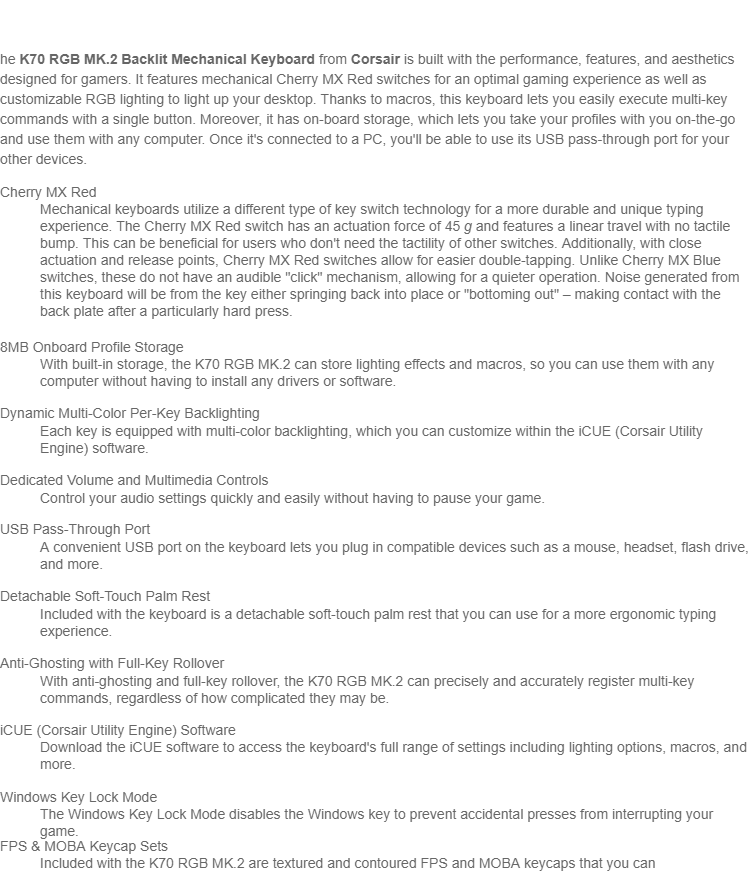 CORSAIR K70 RGB MK 2 MECHANICAL GAMING KEYBOARD — CHERRY MX RED  (CH-9109010-NA)