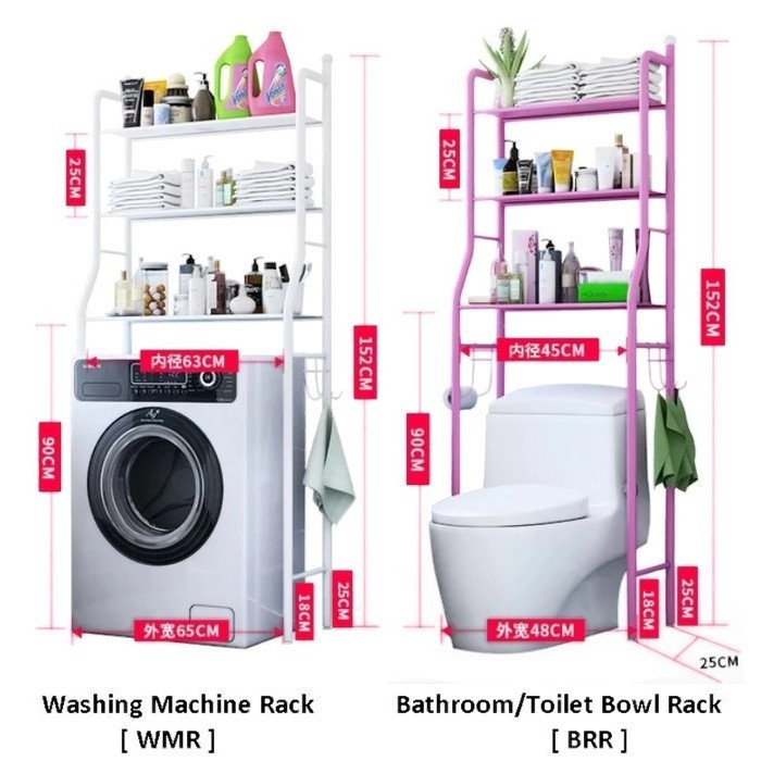 Boston Home High Quality Multifunction Bathroom Rack And Shelf Toilet Shelf Washing Machine Shelf Bold White Black Pink