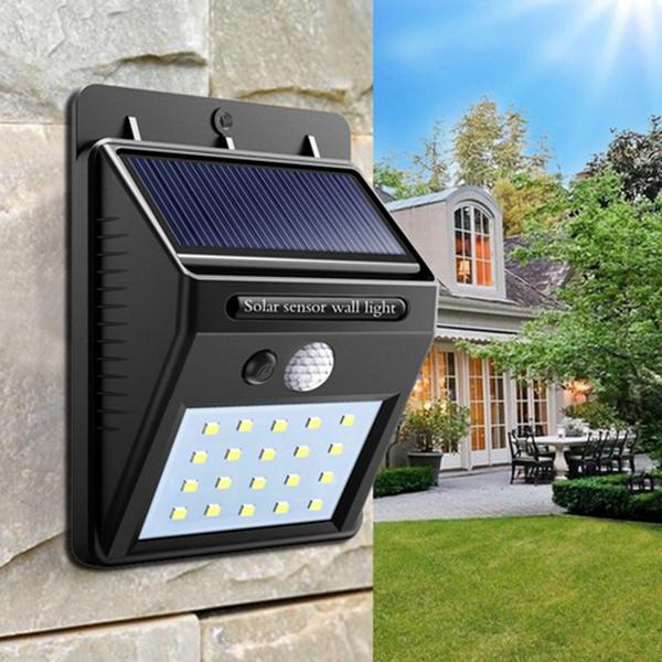 online retailer 19dac 0286d Solar Power Waterproof 25 LED Motion Sensor Yard Wall Light Outdoor Garden  Security Lamp(Black)