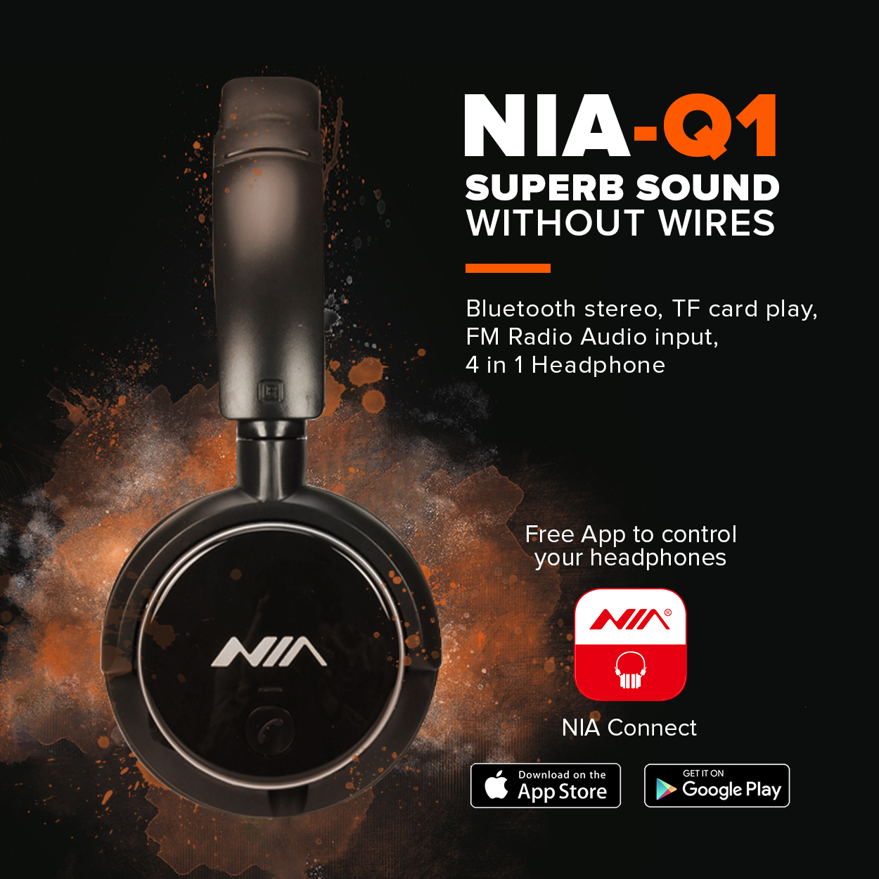 Nia Q1 4 in 1 Stereo Sound Bluetooth Foldable Headphone with Micro SD and  AUX Slot/FM Radio and Free AUX Wire