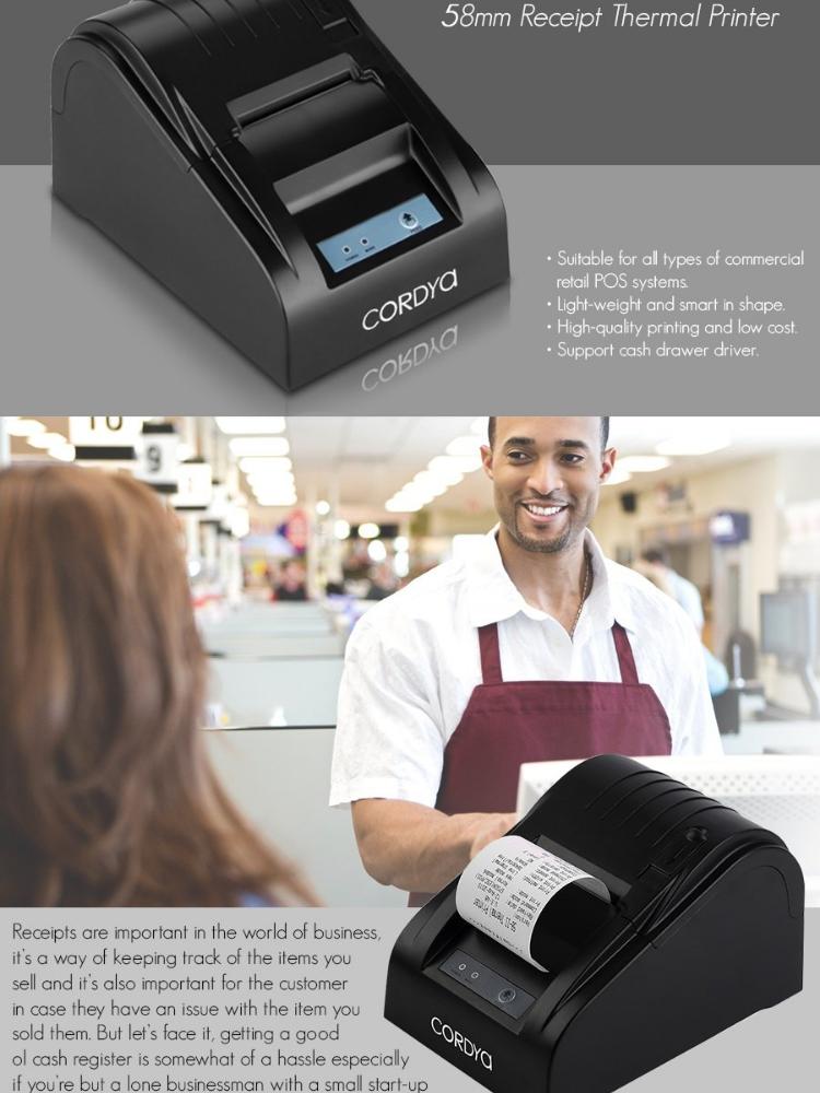 Cordya POS 5890T Portable 58mm USB Port POS Receipt Thermal Printer (Black)