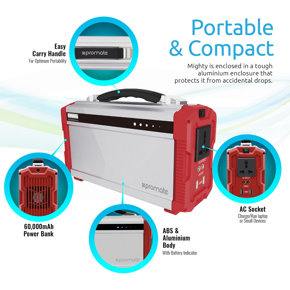 Promate Mighty Portable Power Station, Outdoor Heavy-Duty Emergency 60Ah  200W Power Inverter with AC and Dual USB Output for Smartphones, Tablets,