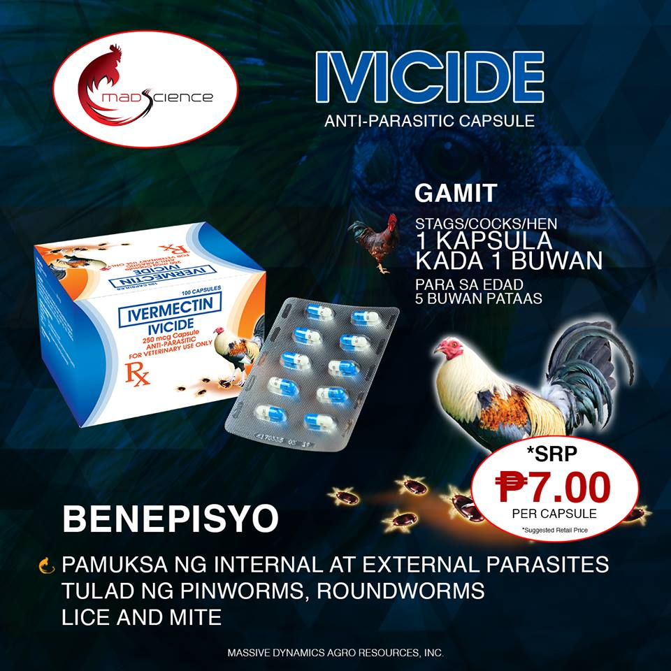 100 capsules Mad Science Ivicide Dewormer for Gamefowl Rooster