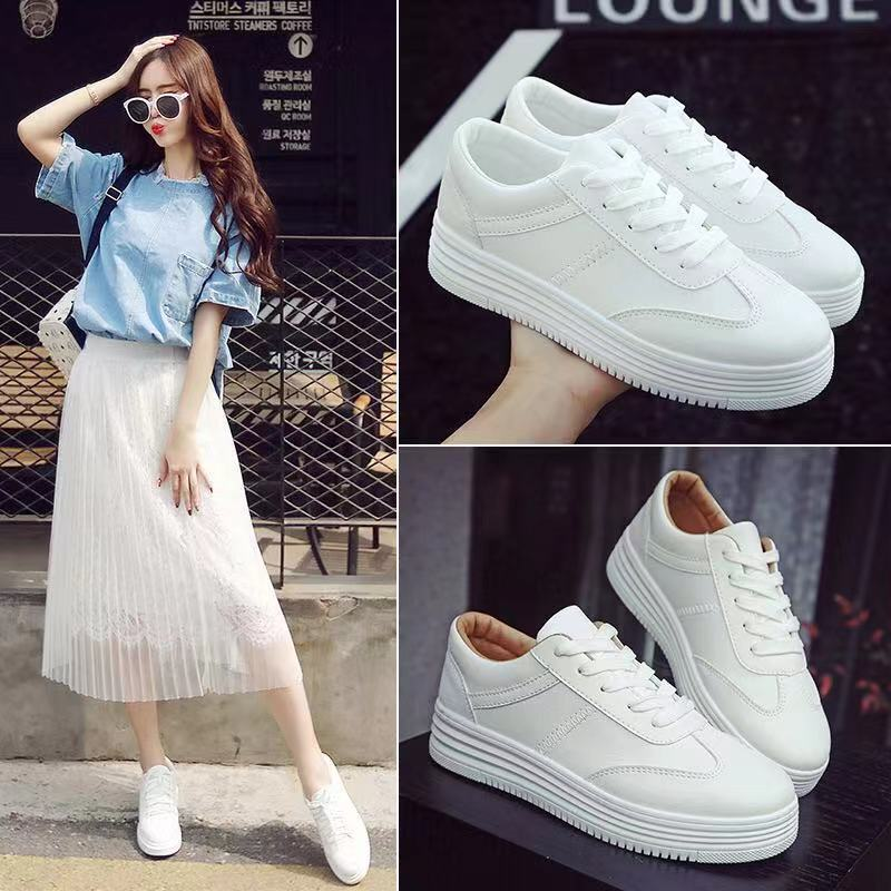 Korean fashion rubber platform white