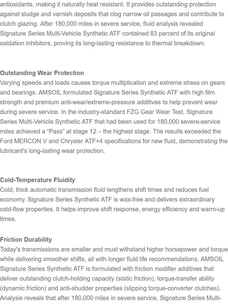 AMSOIL Signature Series Fuel-Efficient Synthetic Automatic Transmission  Fluid (1 QUART)