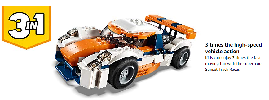 LEGO 31089 Creator 3in1 Sunset Track Racer Sports Race Car and ...