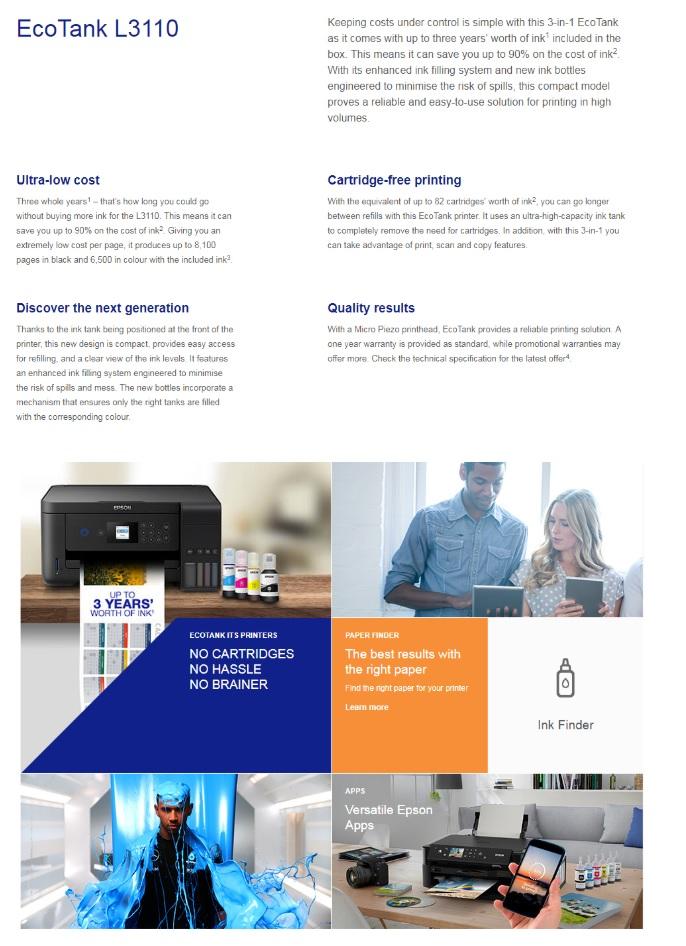 Epson L3110 5760 x 1440 dpi Print Scan Copy Printer