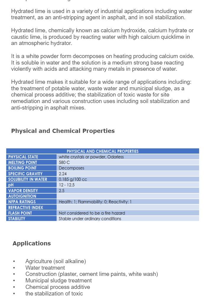 Dalkem Calcium Hydroxide Hydrated Lime 1 kilogram