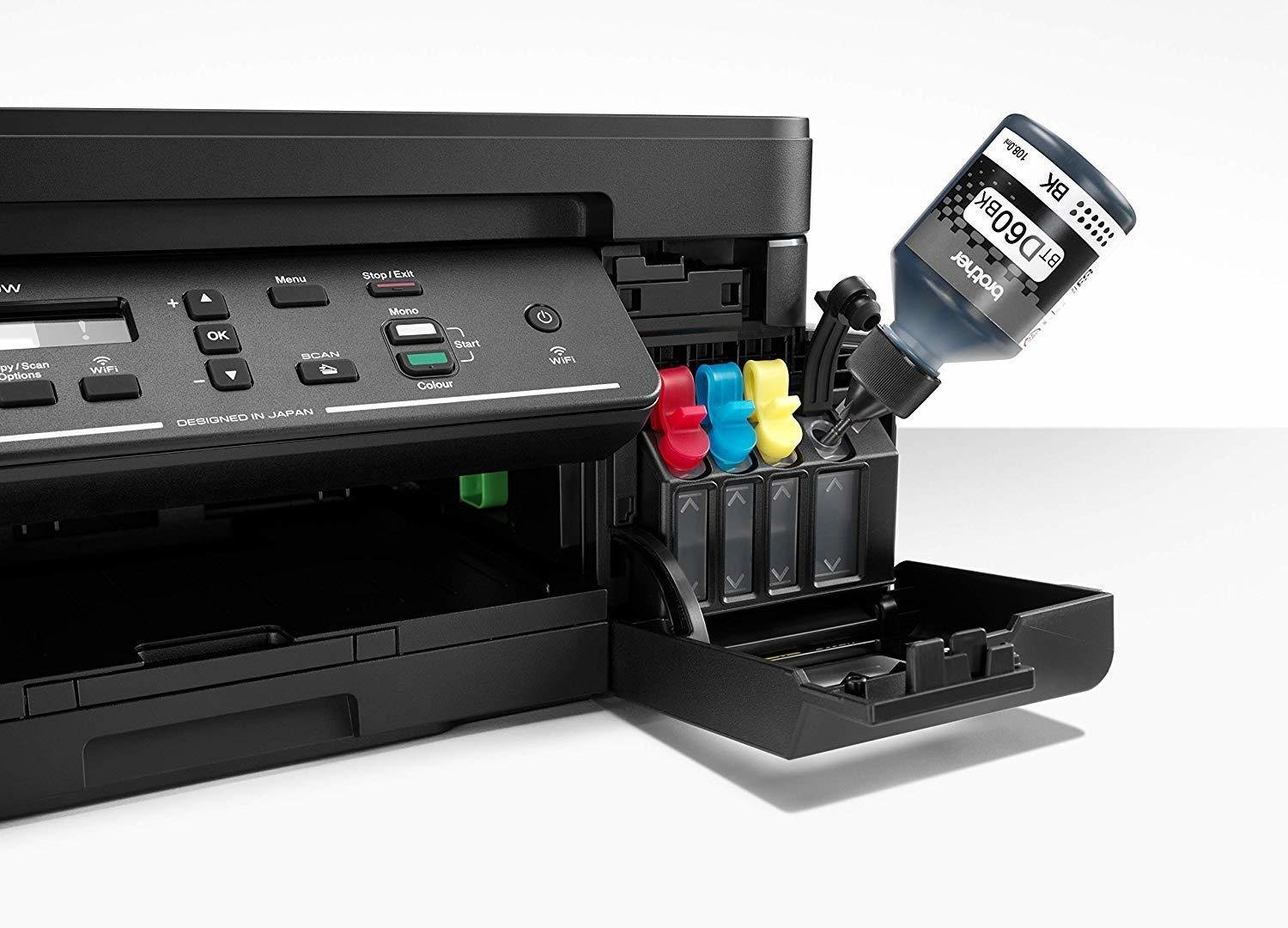 Brother DCP T710W - T710 Refill Tank System Printer Wifi, Mobile-Print, ADF  Print, Scan and Copy with Built-in Wireless Borderless Printing -