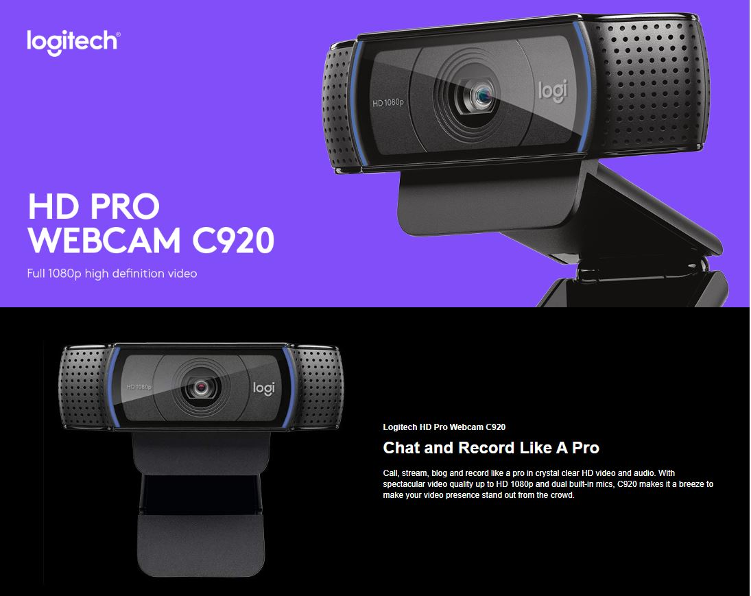 Logitech C920 Pro HD Webcam, 1080p (at30 fps) Widescreen Video Calling and  Recording