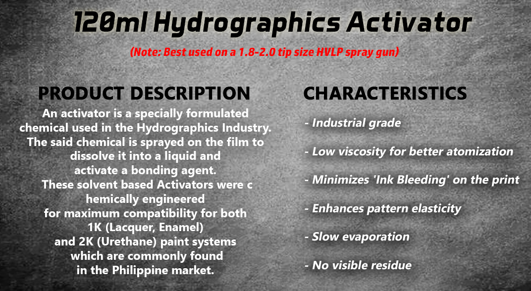 Hydrographics Water Transfer HydroDipping Cubic Printing HydroPrinting  Activator 120ml