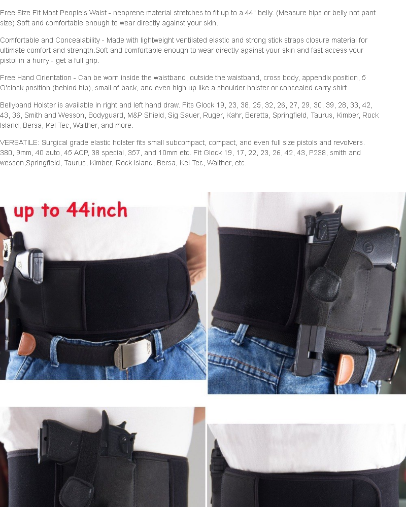Right Hand Belly Waistband Concealed Carrier Holster #0518